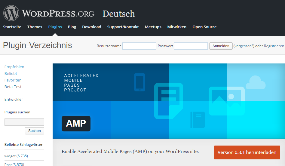Das Accelerated Mobile Pages Plugin von WordPress