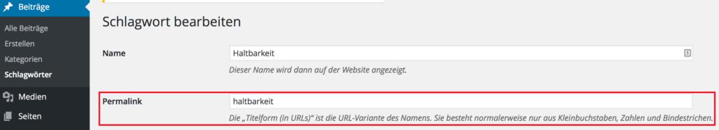 WordPress Slug ändern bei Schlagwörten