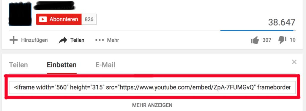 WordPress Video - Embed-Code über Teilen-Button