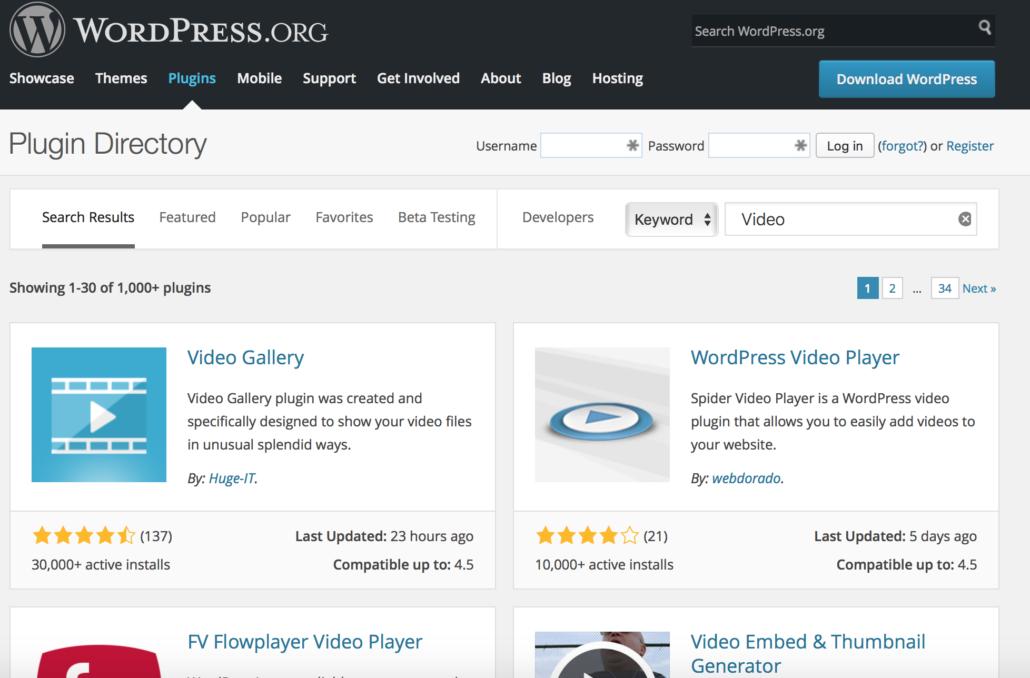 WordPress Video - Video Plugin Verzeichnis