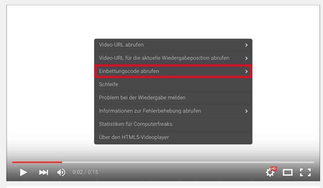 WordPress Video - Embed-Code über Rechtsklick