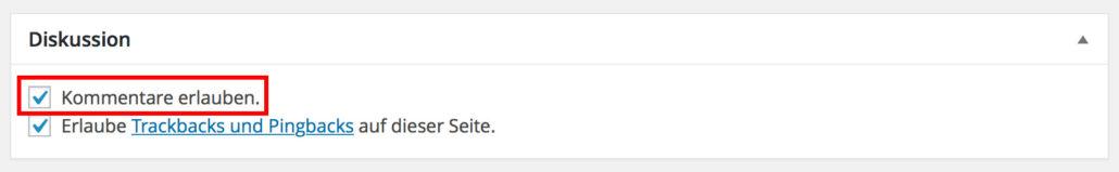 WordPress Kommentare deaktivieren im Backend einzelner Seiten/Beiträge