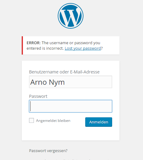 WordPress Passwort ändern_LogIn Screenshot
