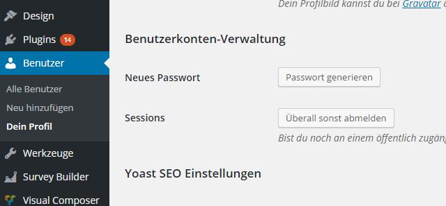 WordPress Passwort ändern_Neues passwort generieren lassen