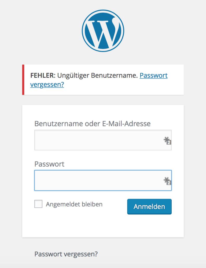 Ein Bild des WordPress Login-Bereichs, der bei Brute Force Attacken angegriffen wird