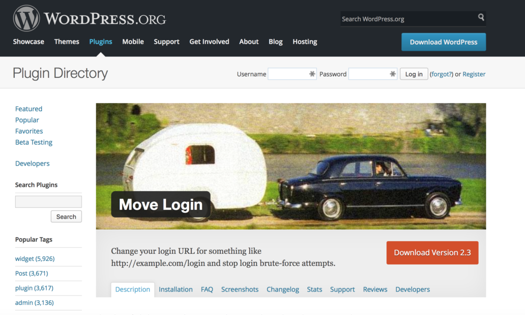 """Das """"Move Login"""" Plugin hilft Ihnen, zum Schutz vor Brute Force Attacken Ihren Login Bereich auf WordPress zu verschieben"""