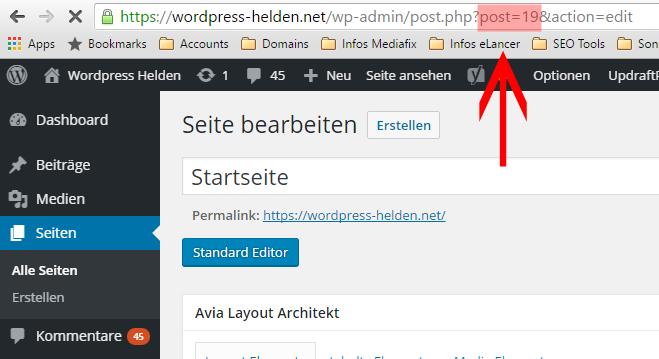 WPH Seiten ID URL Backend