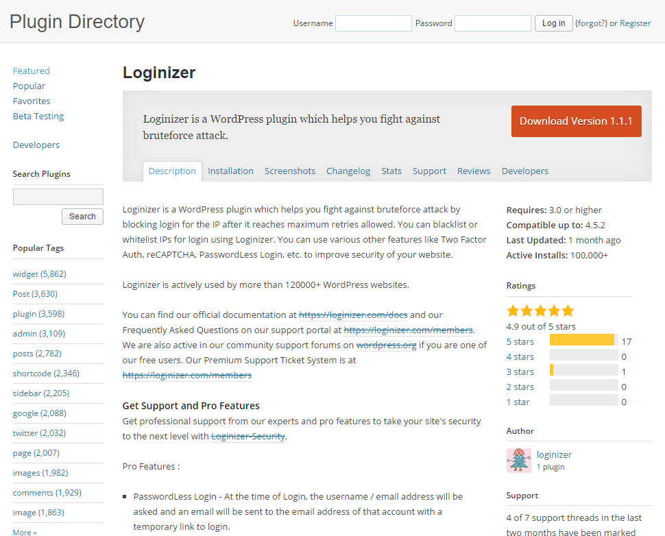 WordPress Sicherheit Login Versuche begrenzen Plugin Loginizer