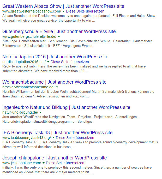 wordpress tagline_just another wordpress site_google ergebnisse
